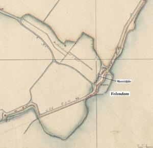 Uitsnede uit de Kadasterkaart van Edam 1819 met de Volendammermeerpolder